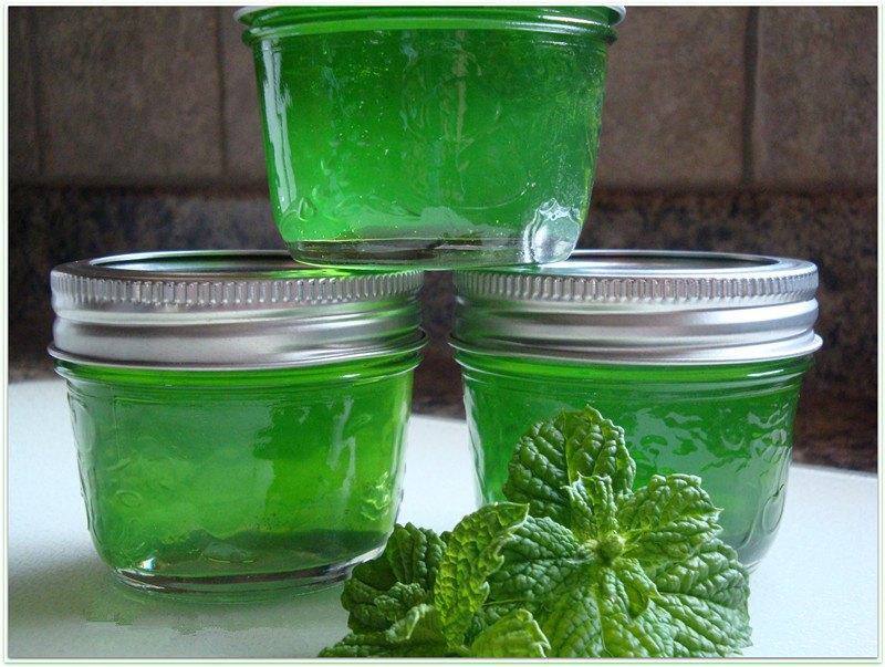 Three bottles of mint jelly