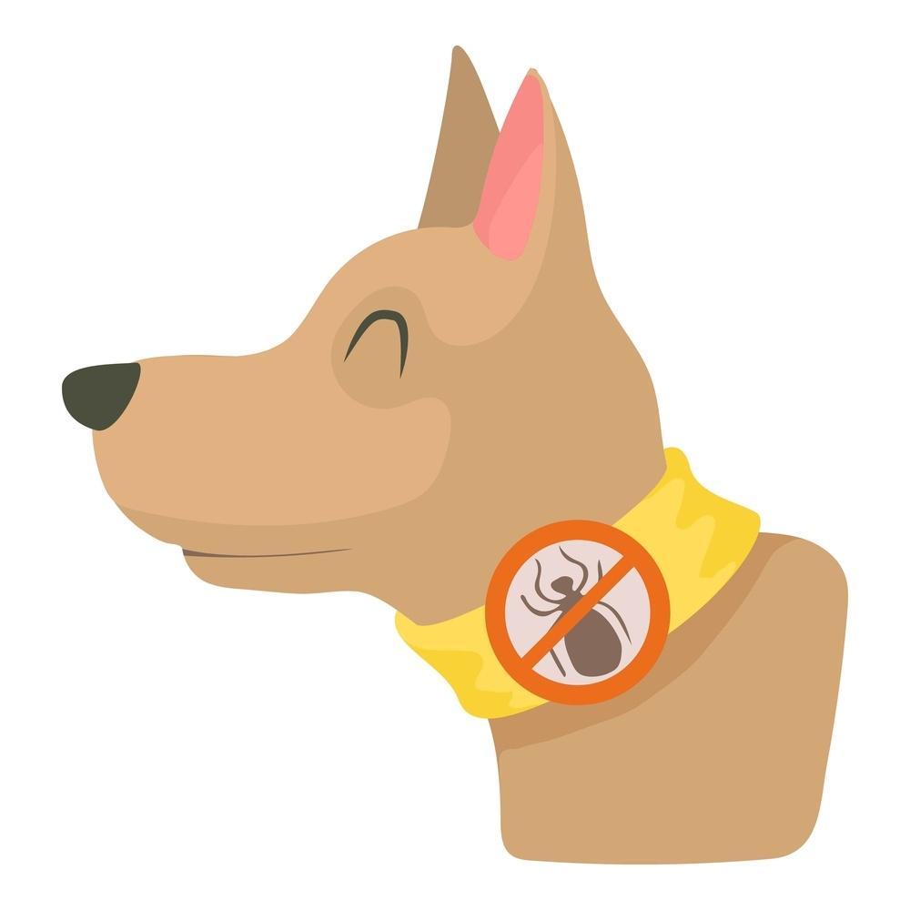 Cartoon dog collar preventing fleas.