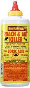 A bottle of pestguard Zap-A-Roach Boric Acid on white background.