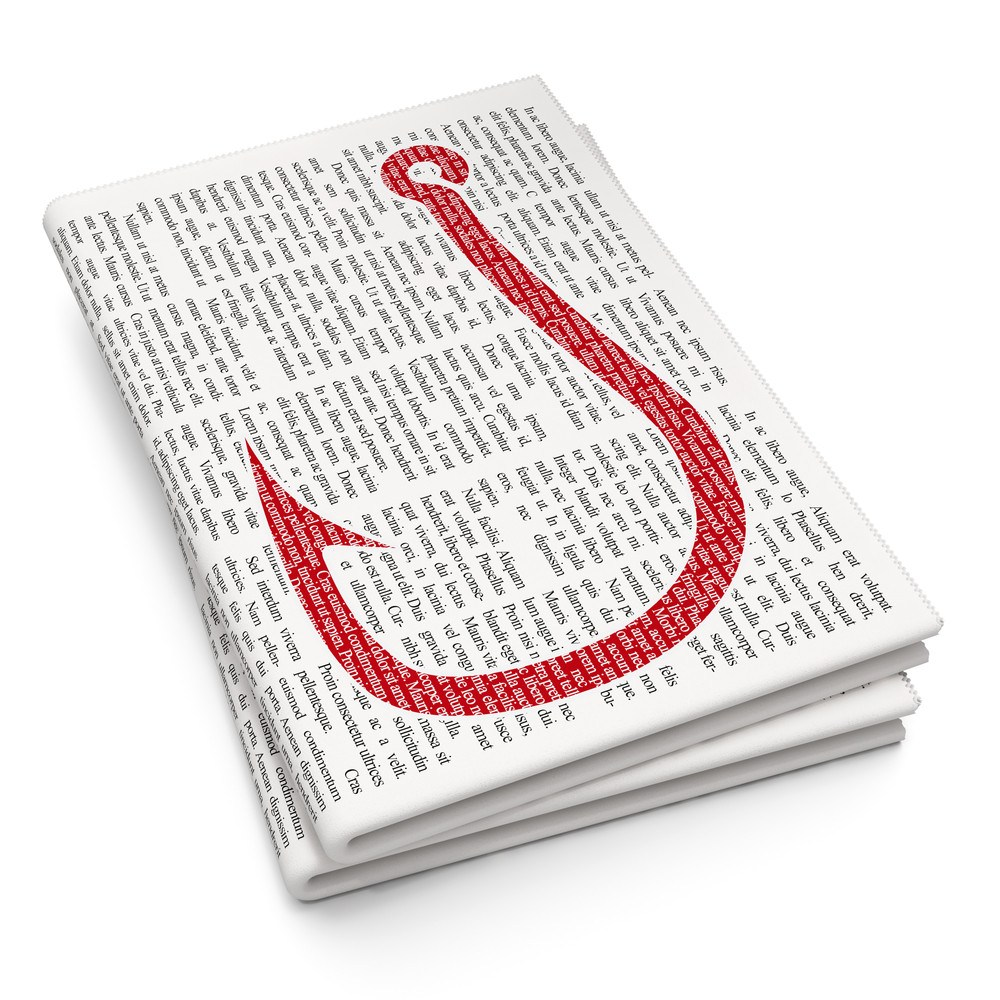 Pixelated red Fishing Hook icon on Newspaper background.