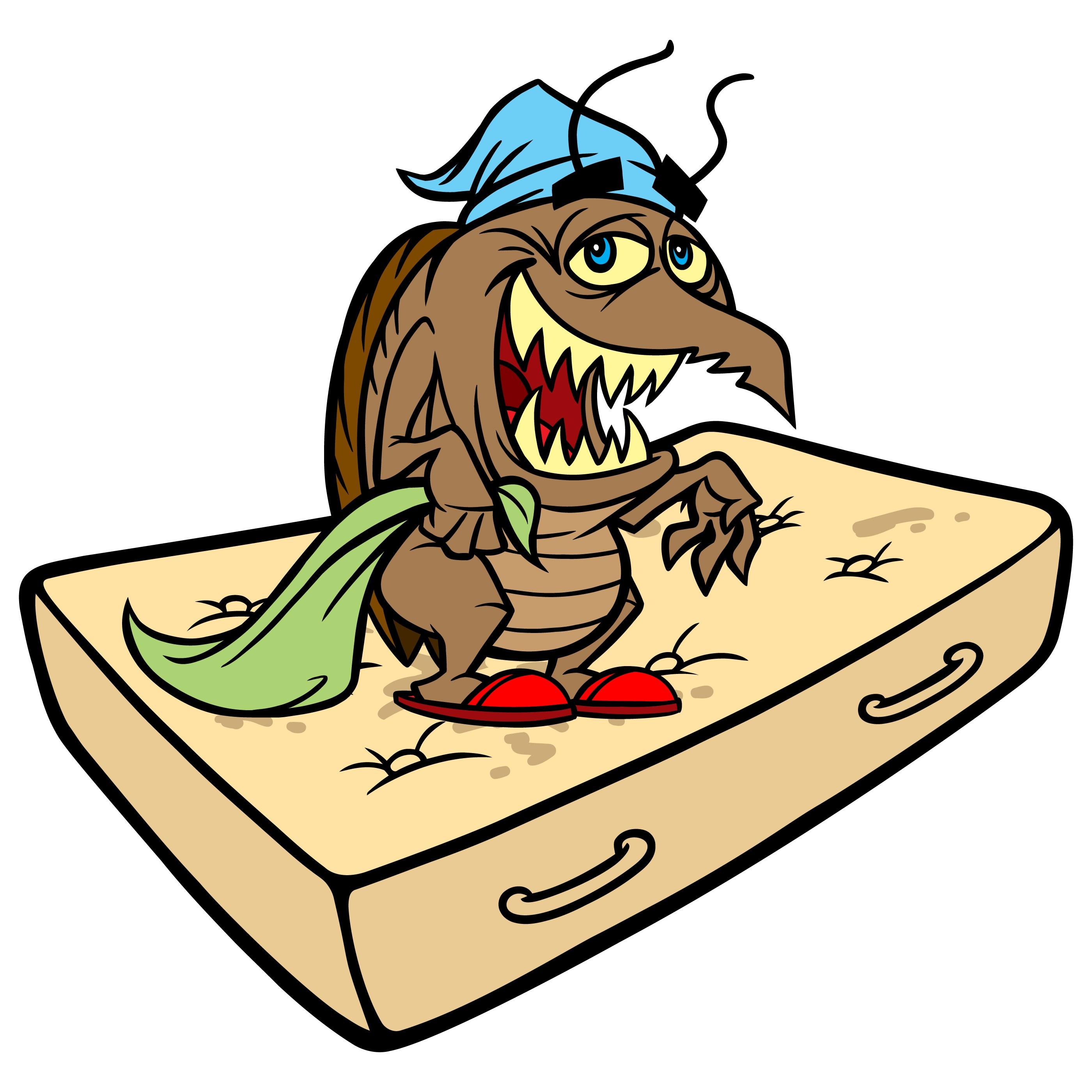 Cartoon picture of a bedbug on a mattress.