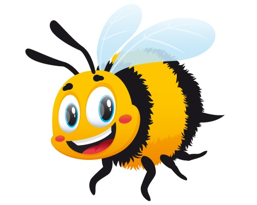 Cartoon bumble bee on white background.