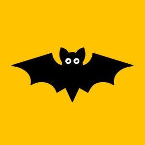 Cartoon bat on orange background.