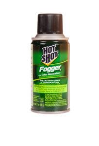 A greencan of hot shot fogger with odor neutralizer on white background.