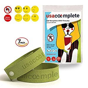 Natural 7 mosquito repellent bracelet plus 6 patches for kids & adults (green).