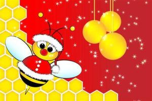 A cartoon Santa Claus Bee in a beehive with golden balls.