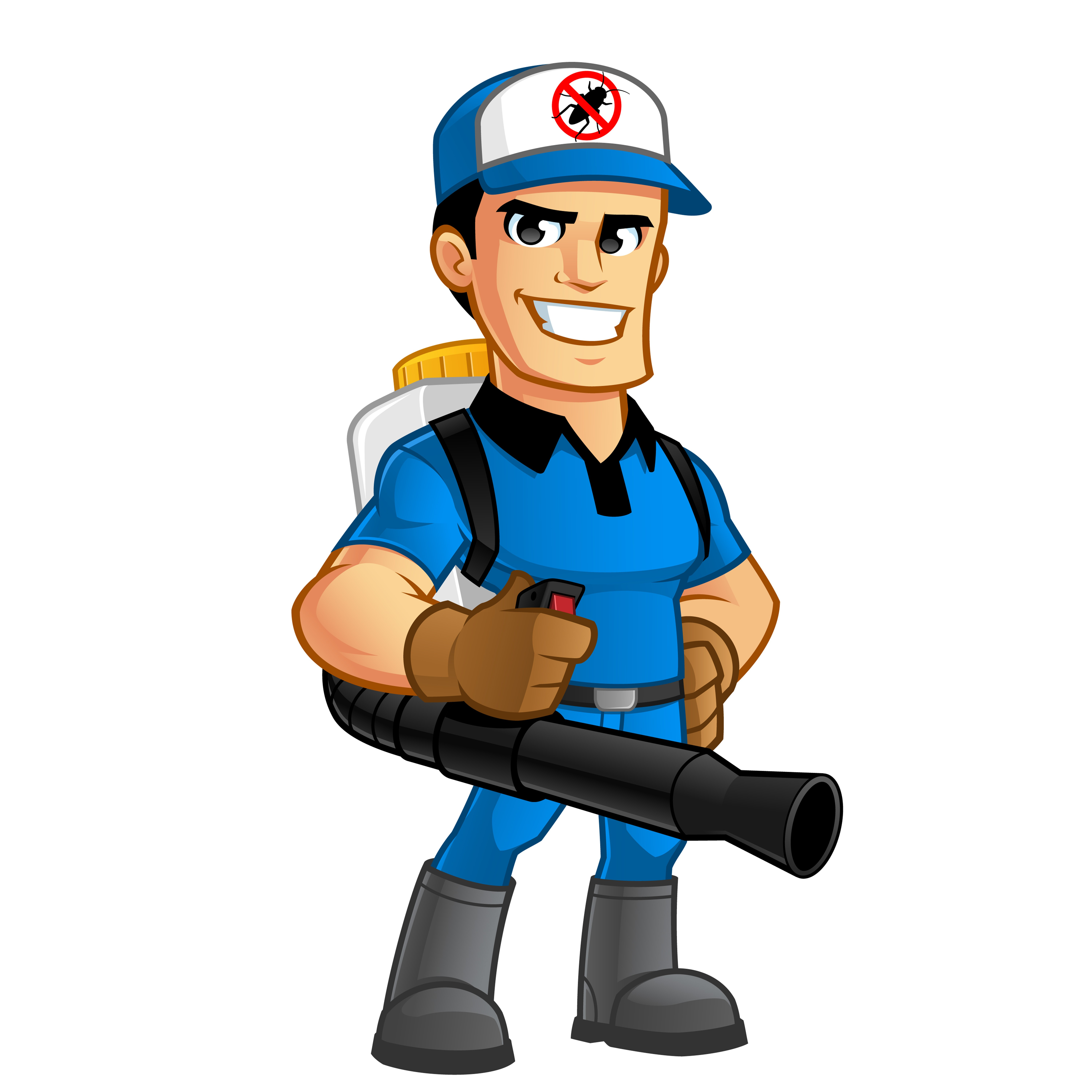 Worker with equipment pest extermination.