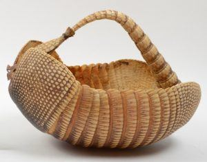 A basket made by armadillo shell