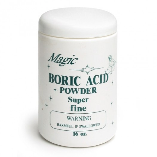 A bottle of boric acid on the white.