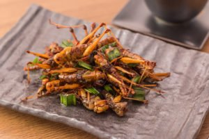 Grasshopper insect crispy with pandan after fried