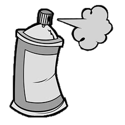 Cartoon spray on white background