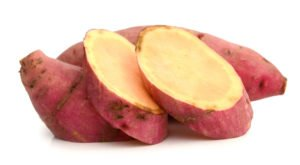 Slice of yams isolated on a white background.