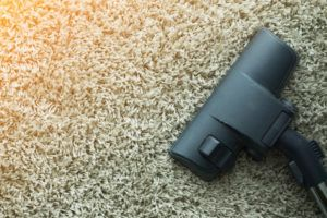 Close up of the head of a modern vacuum cleaner being used while vacuuming a thick pile white carpet.