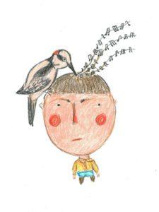 Woodpecker bird watercolor coloring pencils