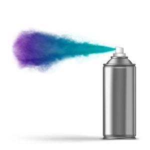 Spraying aerosol on white background.