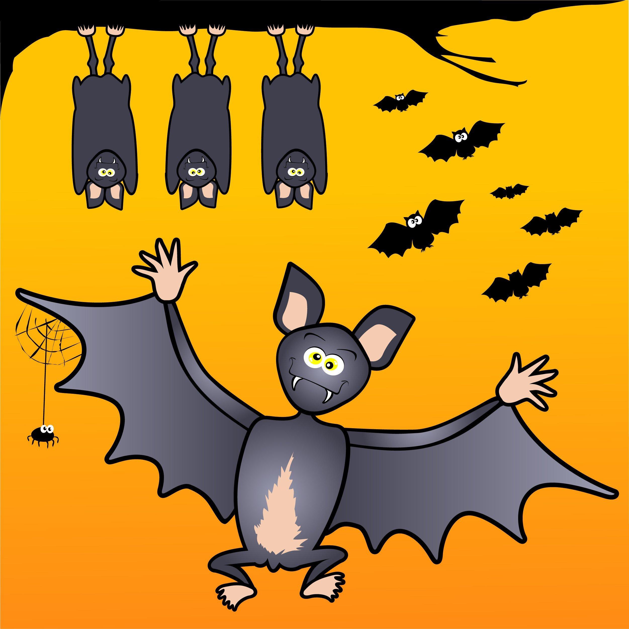 Series of funny bats on orange background.