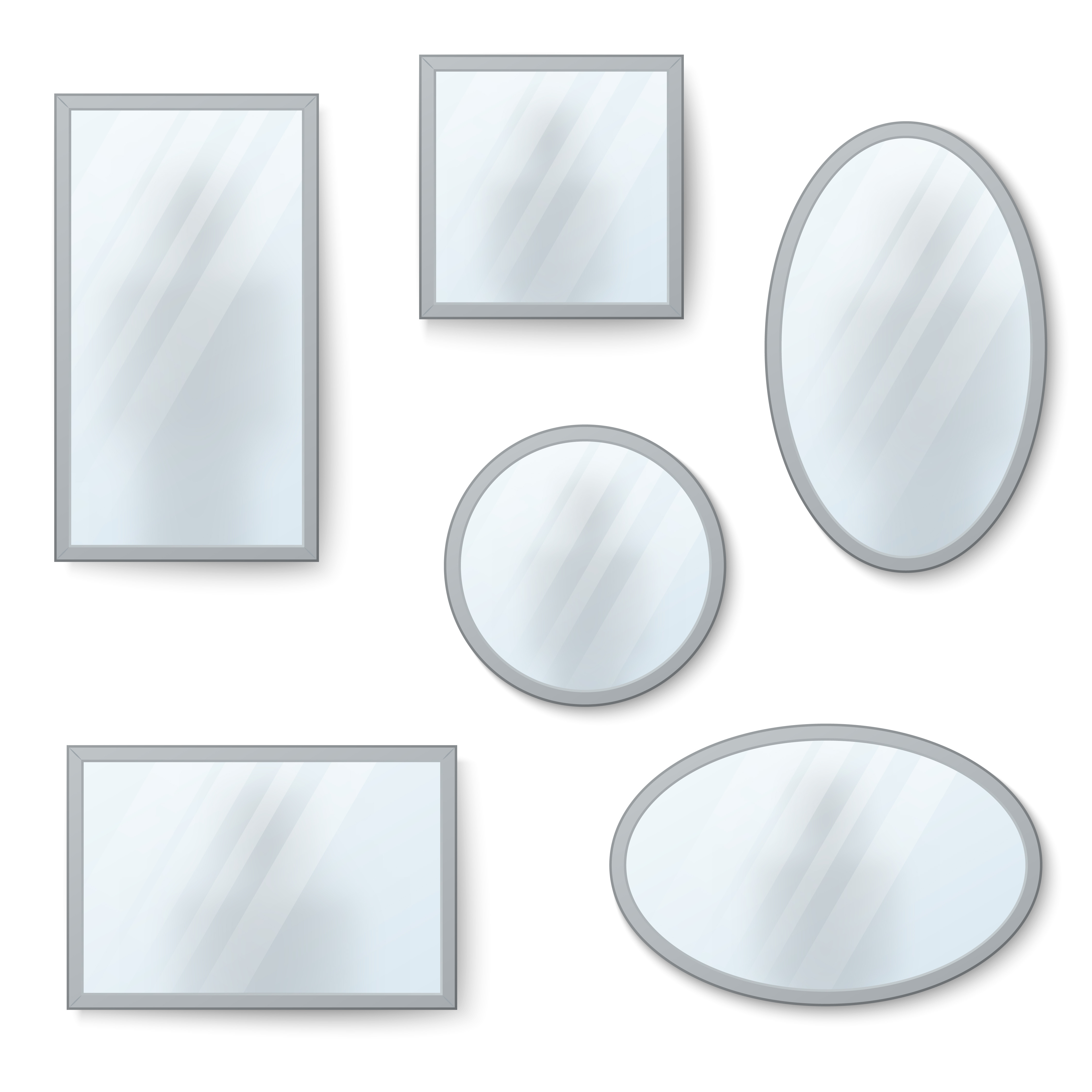 Mirrors set with blurry reflection.