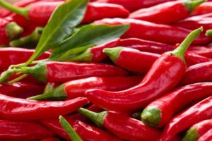 Background of ripe red chili peppers.
