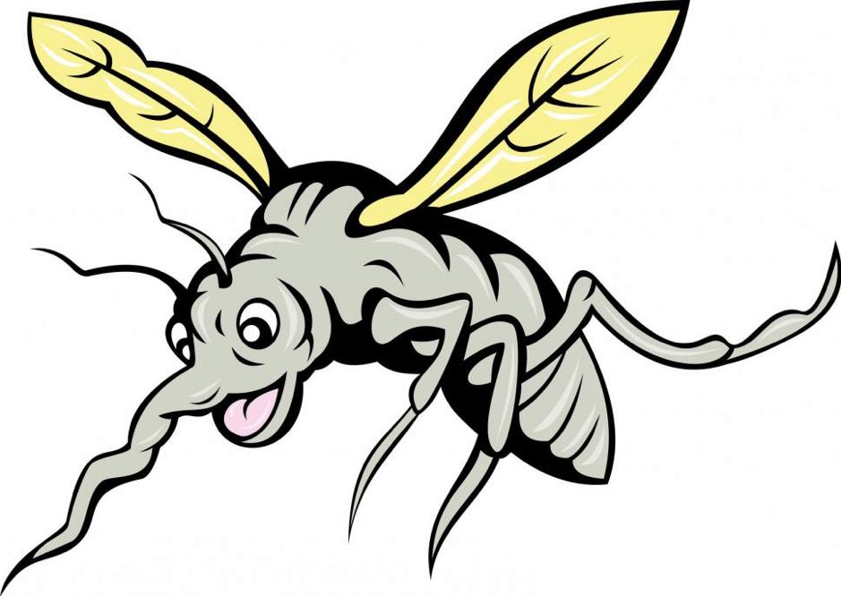 A cartoon mosquito