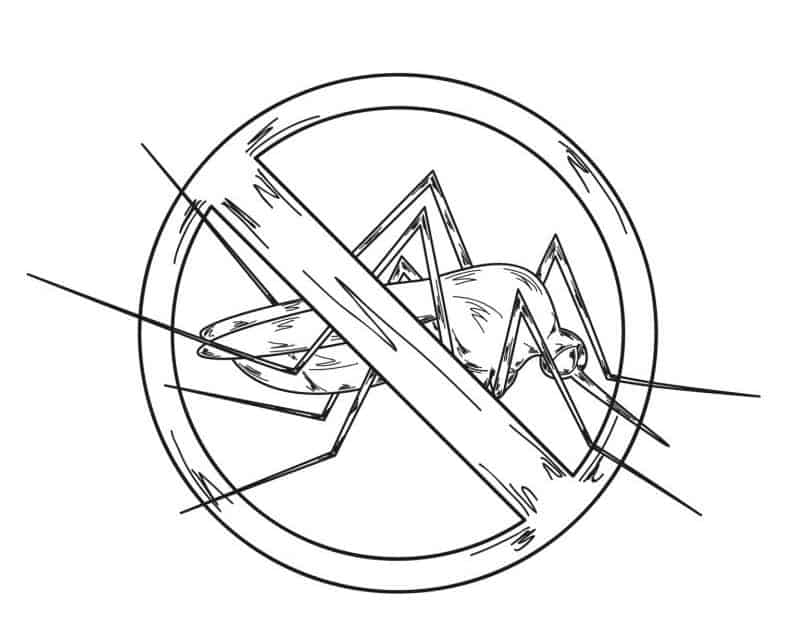 A black and white image of a stop mosquito sign